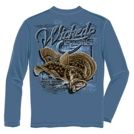 Wicked Fish Fightin Fluke Long Sleeve Fishing T-shirt by Erazor Bits, Blue