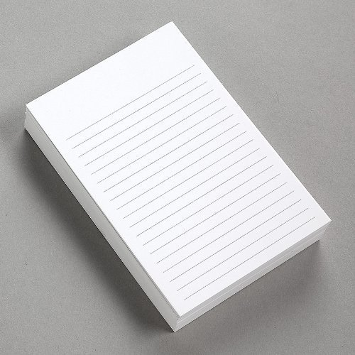 "Thick White Note Cards for notes or thoughts, Printed black ruled lines Both sides - Vertical Ruled Cards ""100 per pack"" (4 x 6)"