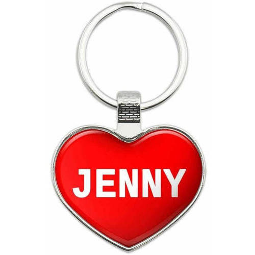 Jenny - Names Female Metal Heart Keychain Key Chain Ring, Multiple Colors Available