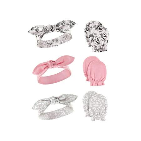 Girl Headband and Scratch Mittens, 6-Piece Set