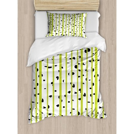 Aspen Wood Bedding (Aspen Tree Duvet Cover Set Twin Size, Abstract Style Birch Woods Growth Stems Theme with Color Splashes, Decorative 2 Piece Bedding Set with 1 Pillow Sham, Yellow Green Black White, by Ambesonne)
