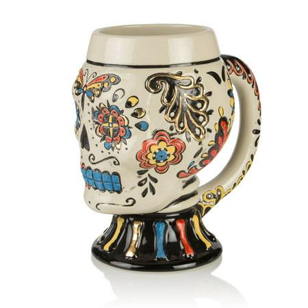 Day Of The Dead Sugar Skull Multi-Colored Stoneware Mug - 22 oz ()