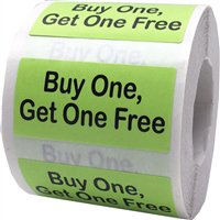 Buy One Get One Free Rectangle Stickers, 0.75 x 1.5 Inches Wide, 500 Labels on a Roll - Buy Stickers Online