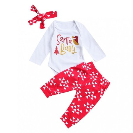 e6a76eed0 3Pcs Cute Newborn Kids Baby Girl Clothing Set Tops Bodysuits Pants  Headbands 3pcs Xmas Outfits Clothes Set - Walmart.com