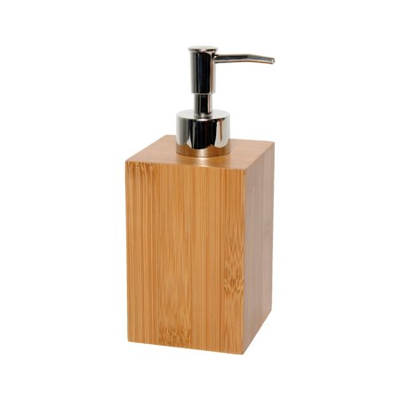 Ecobio Square Bamboo Bathroom Soap And Lotion Dispenser Color Brown