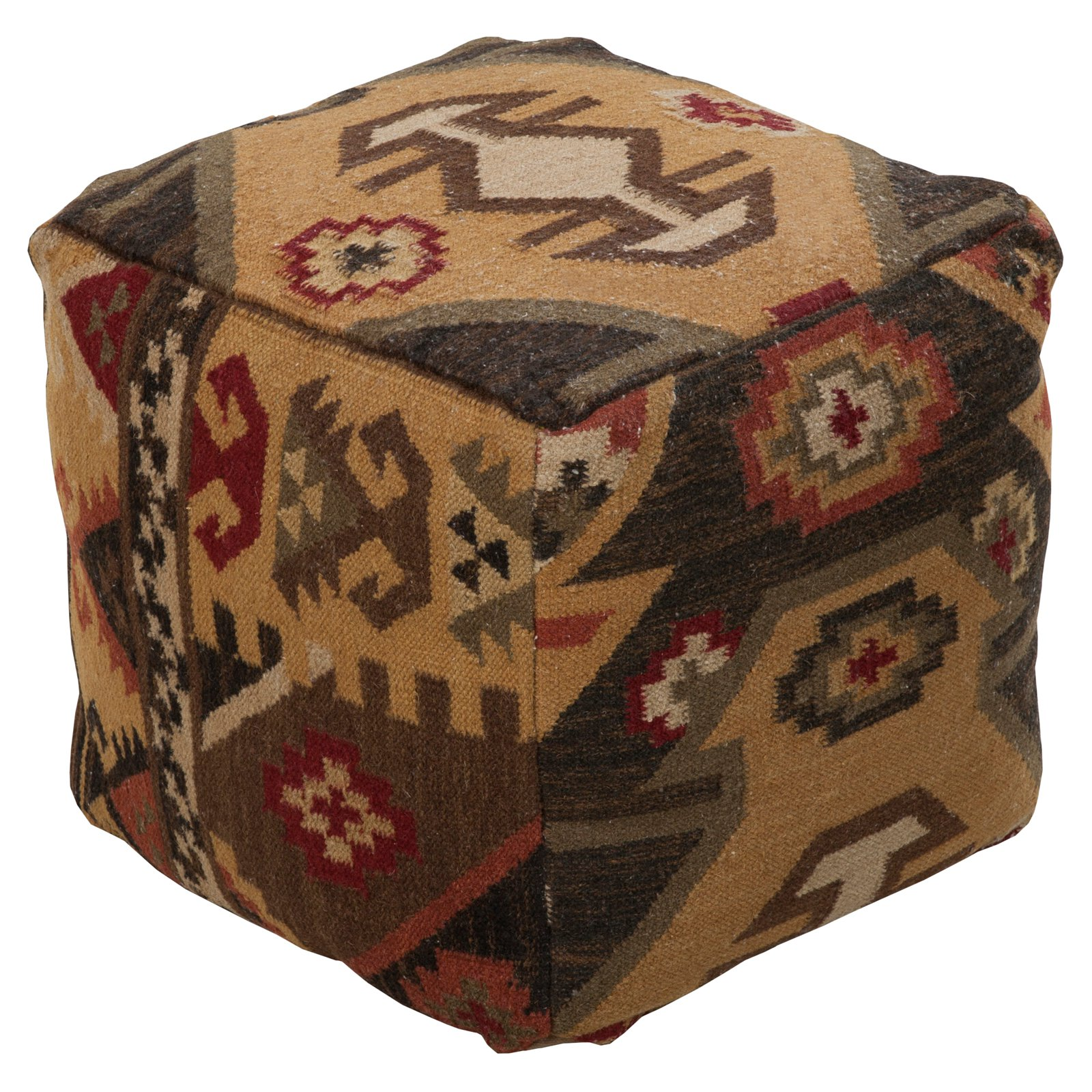 Surya 18 in. Cube Wool Pouf Dark Goldenrod by Surya