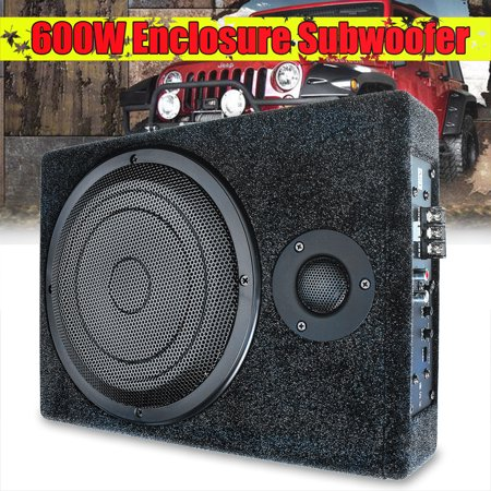8''/10'' 600W Under Seat Car Audio Subwoofer Powerful Amplifier Amp Super Bass Speaker for Car/Truck + Wiring Kit Father's Day