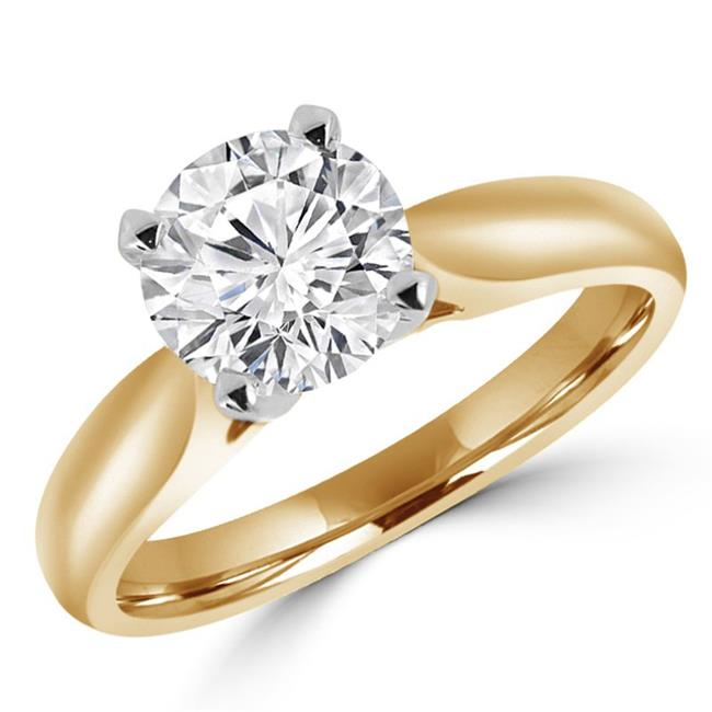 Majesty Diamonds MD170181-6.25 1.14 CT Round Diamond Solitaire Engagement Ring in 14K Yellow Gold - 6.25