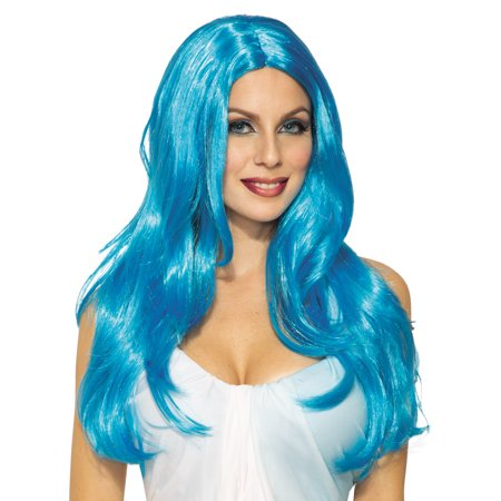 Fairytale Fantasy Womens Adult Long Blue Katy Perry Costume Wig
