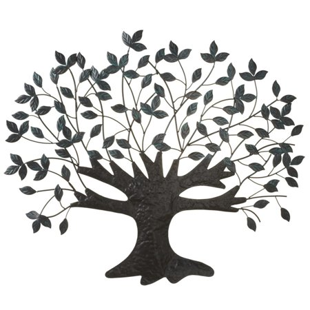 (Set of 2 Green and Black Patina Leaves Tree Silhouette Wall Decors 27.75
