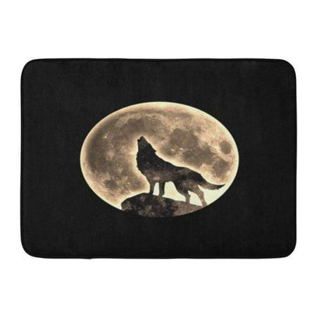 GODPOK Halloween Black Werewolf Howling Wolf Full Moon Fullmoon Mystical Rug Doormat Bath Mat 23.6x15.7 inch - Spirit Halloween Werewolf Rug