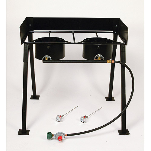 """King Kooker 25"""" Tall Heavy Duty Portable Propane Double Burner Outdoor Cooker / Camp Stove"""