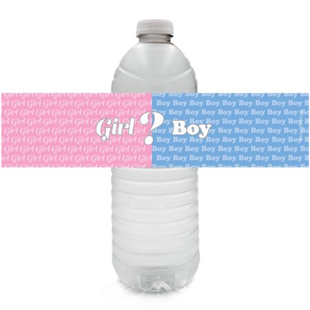 Baby Gender Reveal Party Water Bottle Labels, 24 Count