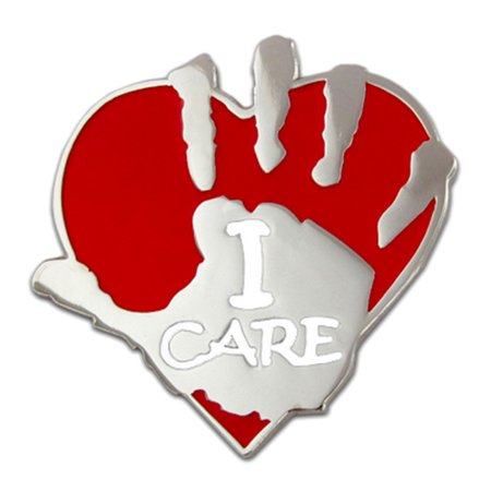 PinMart's I Care Volunteer Heart and Hand Lapel Pin ()