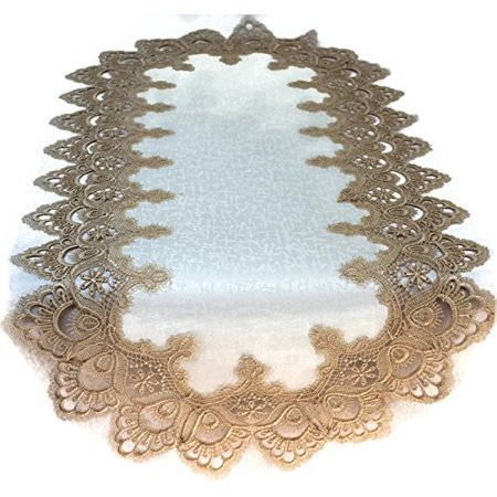 Doily Boutique Table Runner with Gold European Lace and Antique Fabric, Size 54 x 15
