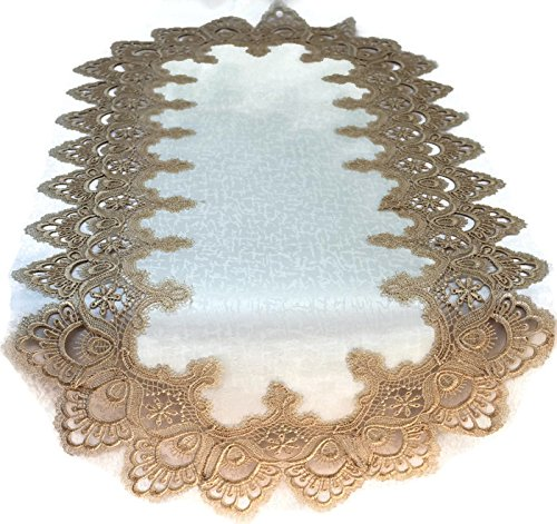 Doily Boutique Table Runner with Gold European Lace and Antique Fabric, Size 44 x 15 inches