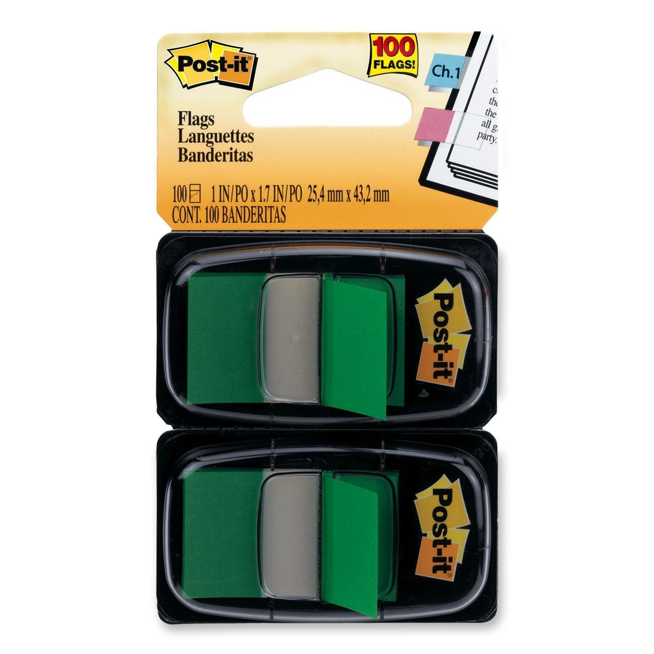 Post-it Flags, Green, 1-Inch Wide, 50/Dispenser, 2-Dispensers/Pack, Eye-catching, colorful flags are easy to spot and have space to write By Postit Ship from US