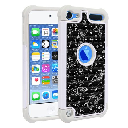 FINCIBO Hybrid Bling Sparkle Cover Hard Plastic TPU Back Case for Apple iPod Touch 6, Space