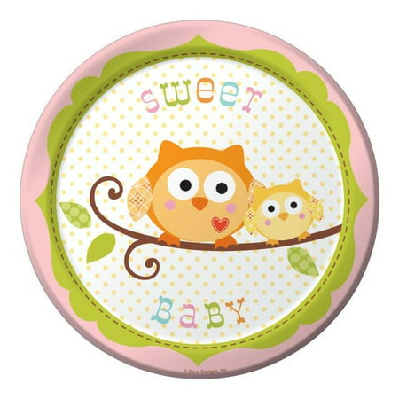 - Party Creations Happi Tree Sweet Baby Girl Lunch Plate, 7