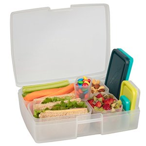 Bentology Leak-Resistant Translucent Beach Bento Box Lunch Box with 5 Containers, Multicolor
