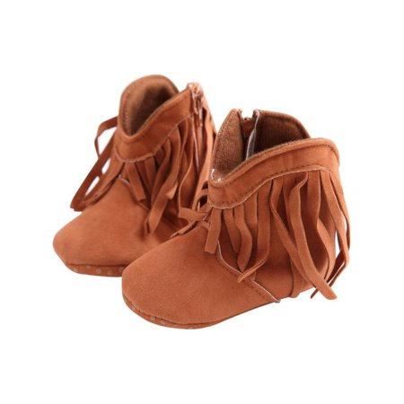 Babula Baby Toddler Boy Girl Fringe Tassel Boots Soft Soled Winter Shoes 0-18m