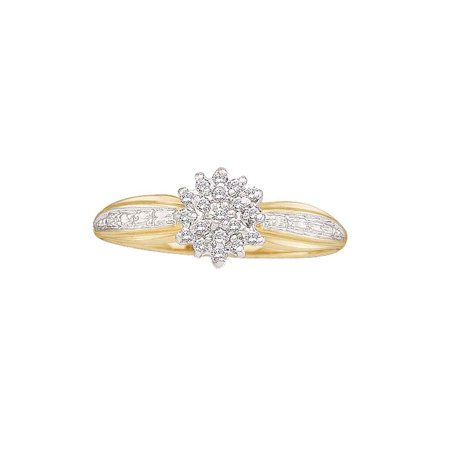 10kt Yellow Gold Womens Round Diamond Cluster Ring 1/10 Cttw ()