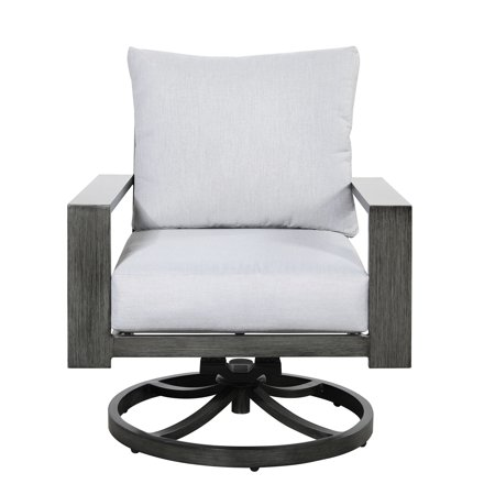 Emerald Home Rockport Cloud Gray and Pewter Gray Outdoor Swivel Rocker Lounge Chair with Comfortable Cushions And Durable Materials ()