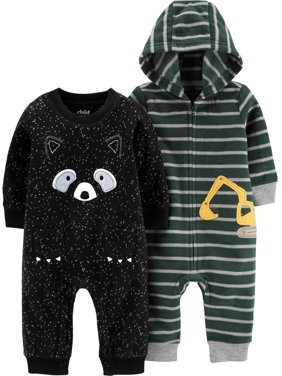 Child of Mine by Carter's Baby Boy Fleece Jumpsuit Romper, 2-Pack