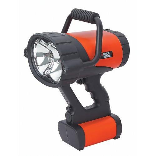 Black & Decker V-3 Million Power VEC158BD Spotlight - LED, Halogen Bulb - ABS PlasticBody, GlassLens - Orange, Black