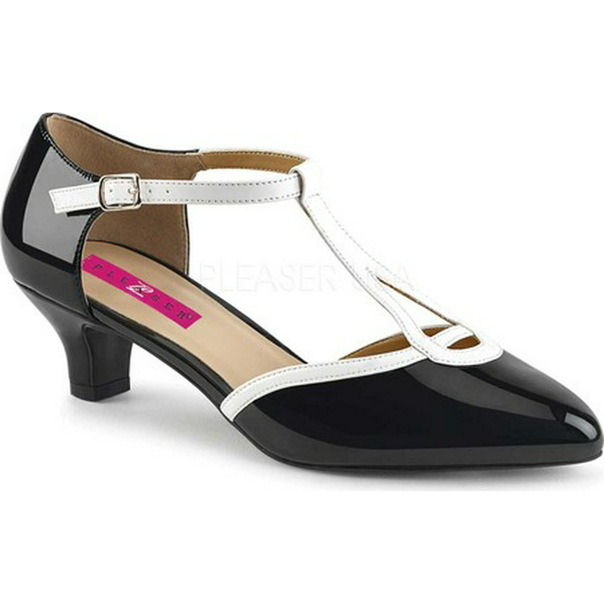 42df2b856b9 Women s Pleaser Pink Label Fab 428 T-Strap Red-Black Patent 15 M ...