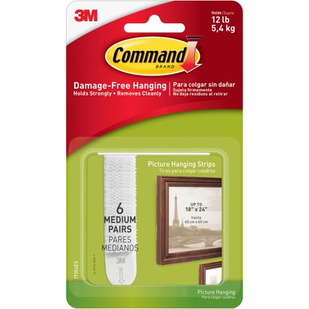 3M Command Brand Damage-Free Hanging Picture Hanging Strips Medium - 6 PR, 6.0 PR
