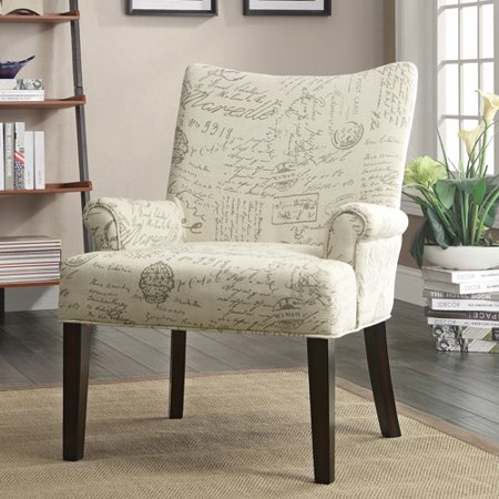 Coaster French Script Accent Chair White Walmart Com