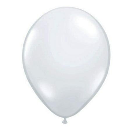 Quarubber 11 Inch Round Plain Rubber Balloon - Diamond Clear, High Quality Durable Natural Latex By - Plain Balloons