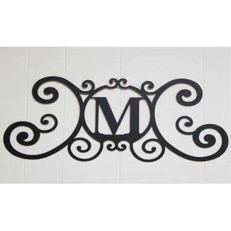 Scrolled Iron Metal Letter M Monogram Personalized Initial Wall Art Family Name Decor Plaque Decoration