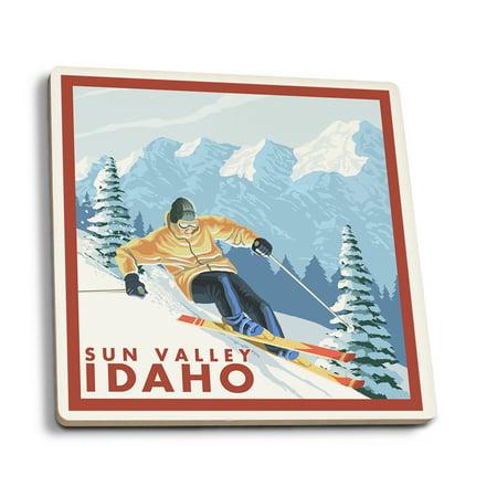 - Sun Valley, Idaho - Downhhill Snow Skier - Lantern Press Artwork (Set of 4 Ceramic Coasters - Cork-backed, Absorbent)