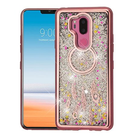 LG G7 ThinQ (G710) Phone Case BLING Hybrid Liquid Glitter Quicksand Electroplating Rubber Silicone Gel TPU Protector Hard Cover Rose Gold Dreamcatcher Silver Glitter Phone Case for LG G7 ThinQ (Liquid Gold And Liquid Silver Plating Kit)