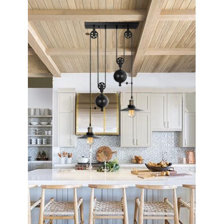 Two/Three Light Pulley Pendant Light, Vintage Kitchen Island Light Retro  Hanging light Adjustable Industrial Rustic Chandelier Farmhouse Ceiling  Lamps ...