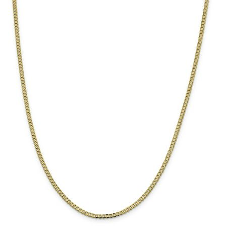 14k Yellow Gold 2.3mm Beveled Link Curb Chain Necklace 16 Inch Pendant Charm Flat Gifts For Women For -