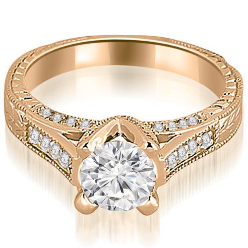 1.10 CT.TW Antique Cathedral Round Cut Diamond Engagement Ring in 14K White, Yellow Or Rose Gold