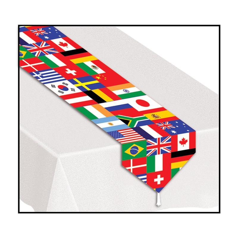 Beistle International Flag Party Decoration 6' Printed Table Runner w Tassles