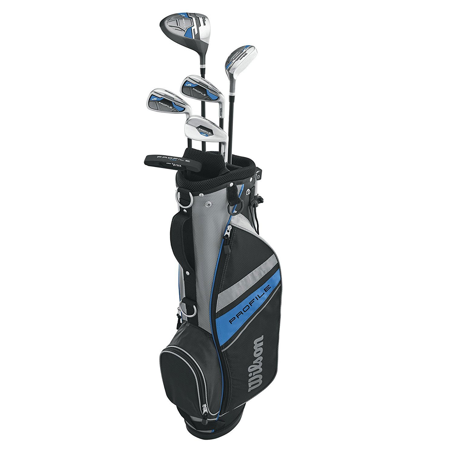 Wilson Profile Complete Junior Large Left Hand Golf Club Set with Golf Bag, Blue