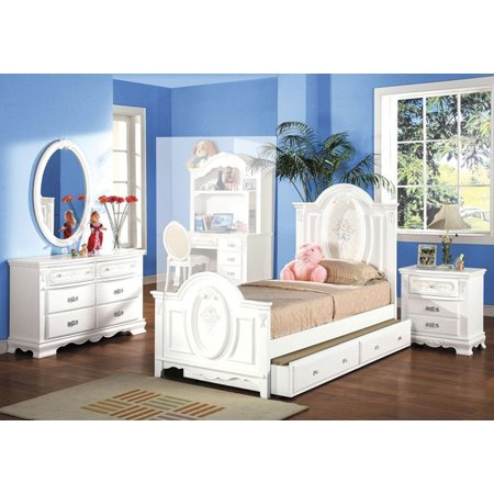 Simple Relax 4pc Flora Collection Girls Youth Room Bedroom Set Twin Size  Bed White Combo Set