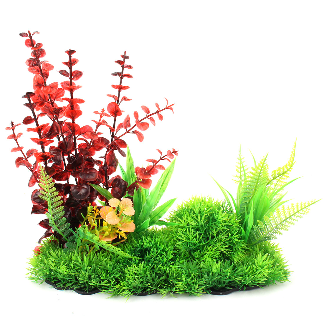 Aquarium Fish Tank Plastic Manmade Leaves Water Grass Plant Ornament Red Green