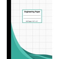 """Engineering Paper: 100 Quad Ruled, 8.5"""" x 11"""" Notebook Pad - Engineer Computations Professional and Students Graph Paper (Paperback)"""