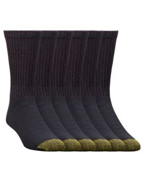 Gold Toe Mens Big and Tall Athletic Midweight Socks, Black, 12-16