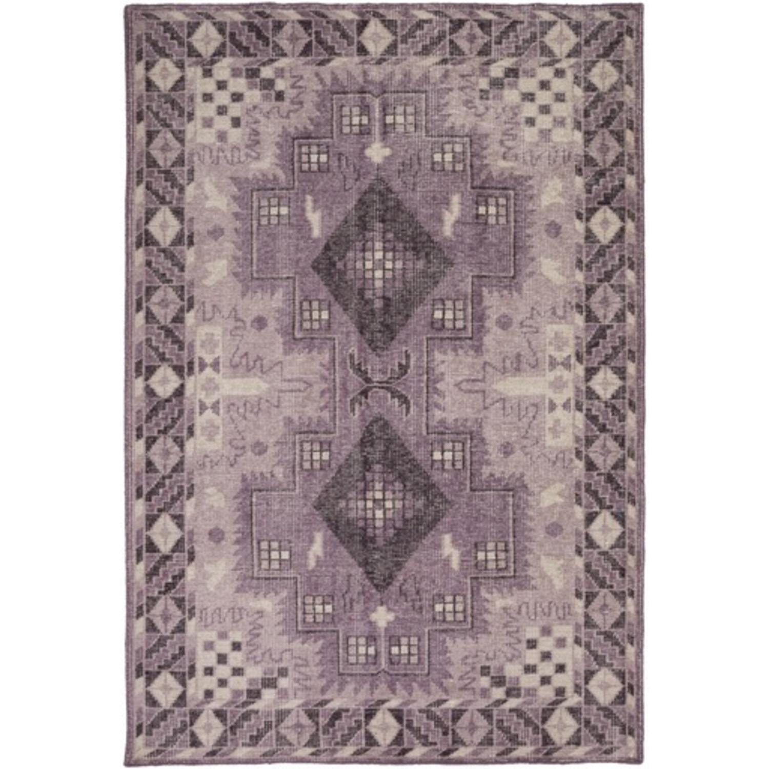 8' x 11' Turkish Symmetry Mauve and Eggplant Purple Hand Knotted Area Throw Rug