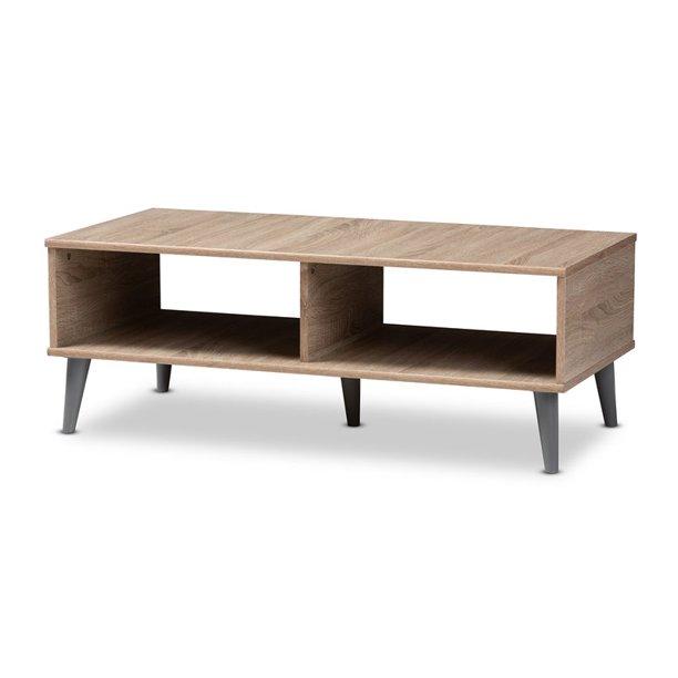Baxton Studio Pierre Mid Century Modern Oak And Light Grey Finished Wood Coffee Table Walmart Com Walmart Com