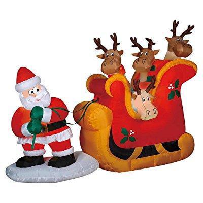 Gemmy christmas inflatable santa pulling reindeer in slei...
