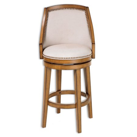 Charleston Swivel Seat Counter Stool with Acorn Finished Wood Frame, Putty Upholstery and Antique Brass Nailhead Trim, 26-Inch Seat Height, 2-Pack