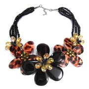 Aeravida Handmade Leopard-Print Mother of Pearl Floral Necklace (Thailand)